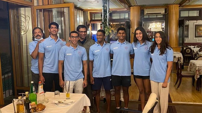 "<div class=""paragraphs""><p>Ram Gopal Narayan with the Indian swim team.</p></div>"