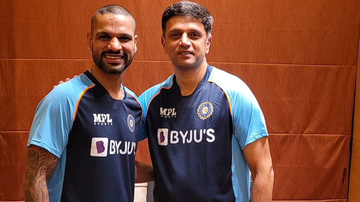 Rahul Dravid with Shikhar Dhawan, India's coach and captain for the tour of Sri Lanka.