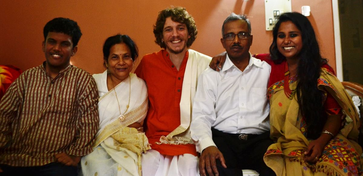 Devangana with her brother (left to right), mother, husband, father.