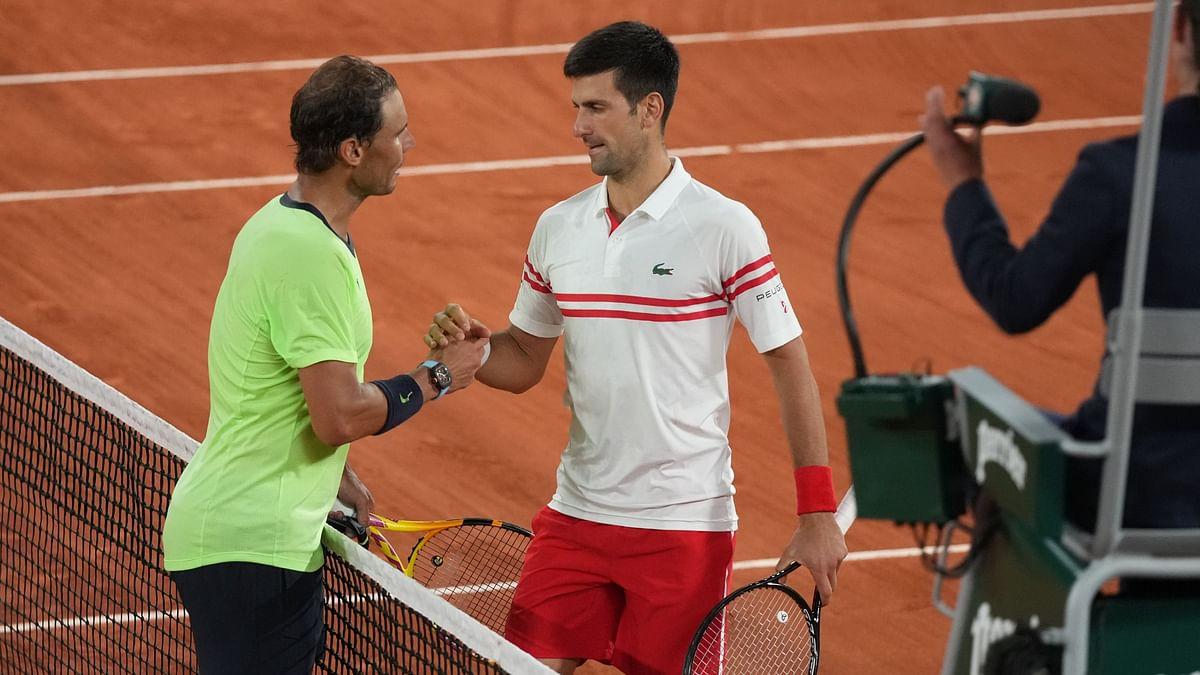 Rafa Nadal and Novak Djokovic after their epic semi-final.