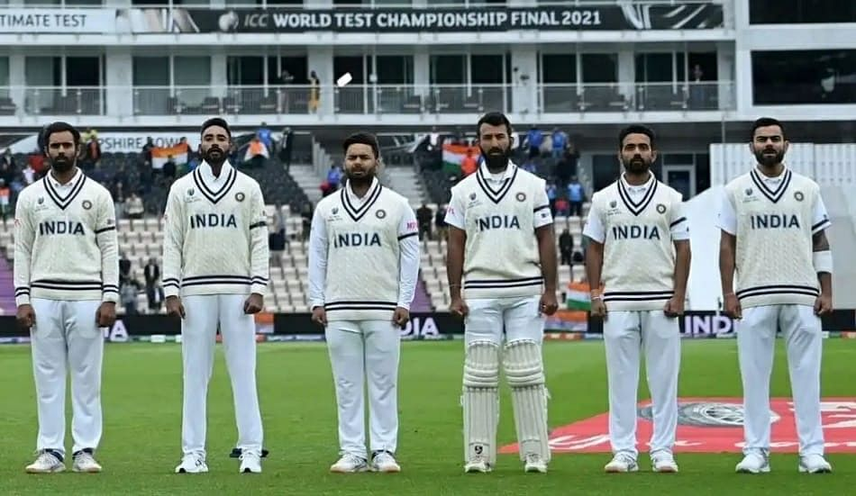 Indian team during the national anthem in the WTC Final against New Zealand.