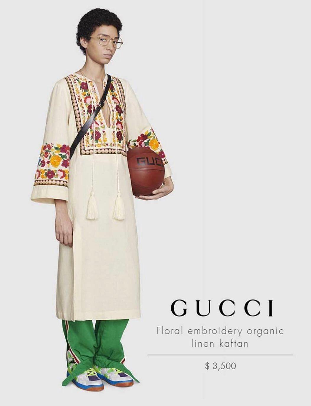"""<div class=""""paragraphs""""><p>Gucci's $3,500 kaftan.</p></div>"""