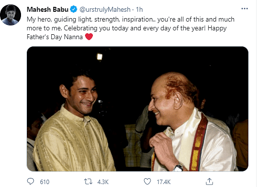"<div class=""paragraphs""><p>Mahesh Babu on Father's day</p></div>"