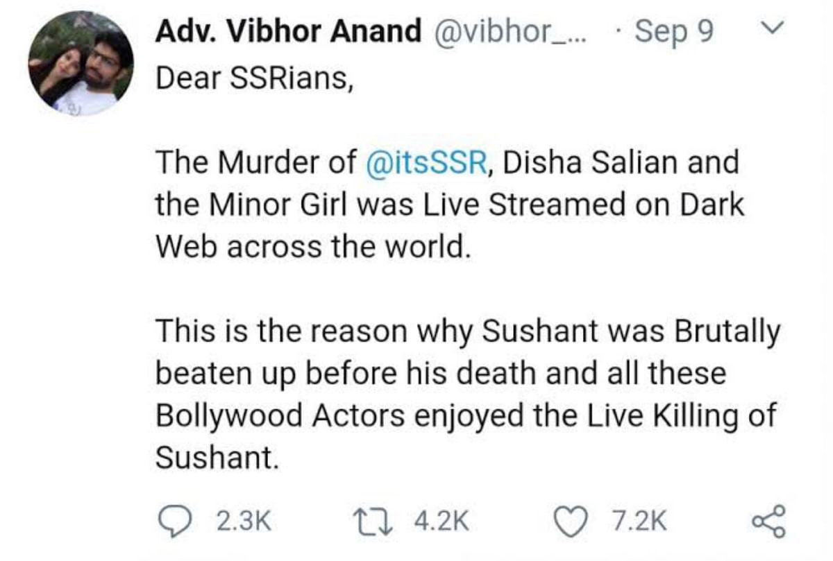 """<div class=""""paragraphs""""><p>Vibhor Anand's bizarre tweet. He was later arrested for peddling lies and defamation.</p></div>"""