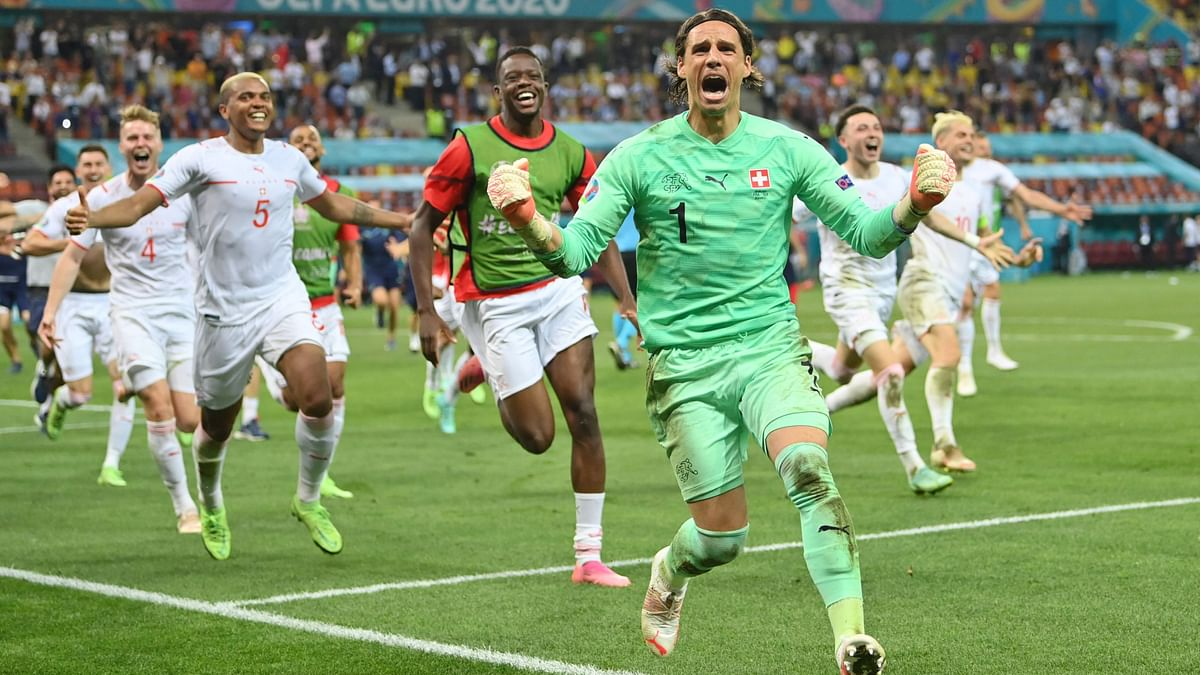 Yann Sommer and Switzerland celebrate after knocking out world champions France in Euro 2020.