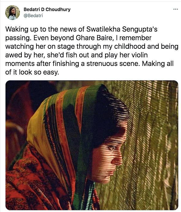 Veteran Actor Swatilekha Sengupta Passes Away