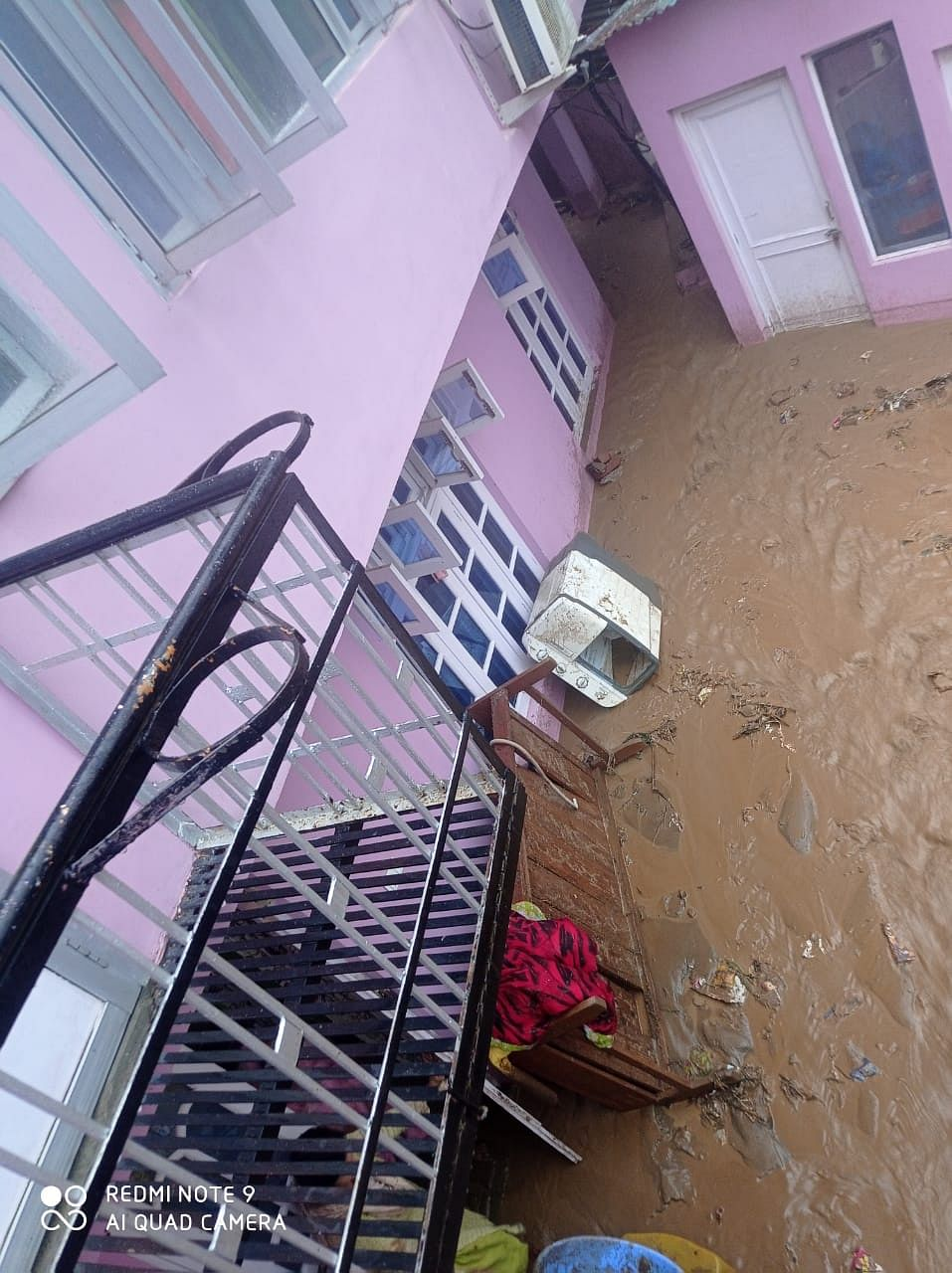 Water gushes inside a home in Thathri, Doda.