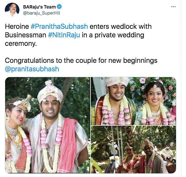 Pics: Actor Pranitha Subhash Marries Businessman Nitin Raju