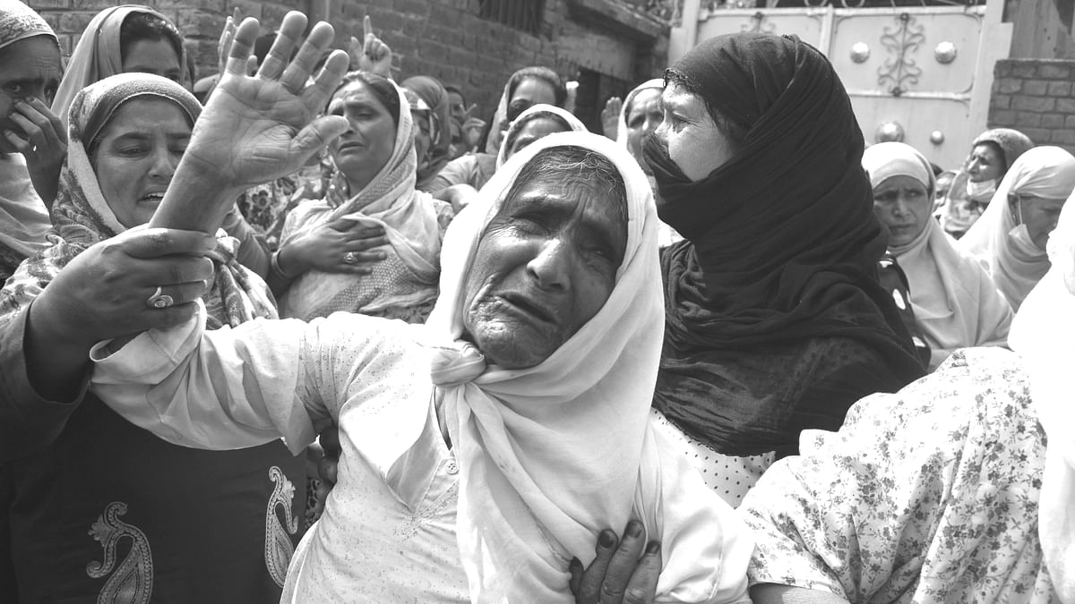Rathi Begum, mother of Bashir Ahmad (Civilian) , who was killed in Sopore attack on Saturday.