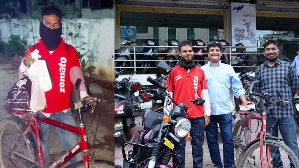 """<div class=""""paragraphs""""><p>Netizens raise 73,000 to give Mohd Aqeel a new bike to deliver food.</p></div>"""