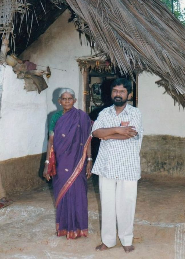 Siddalingaiah with his mother