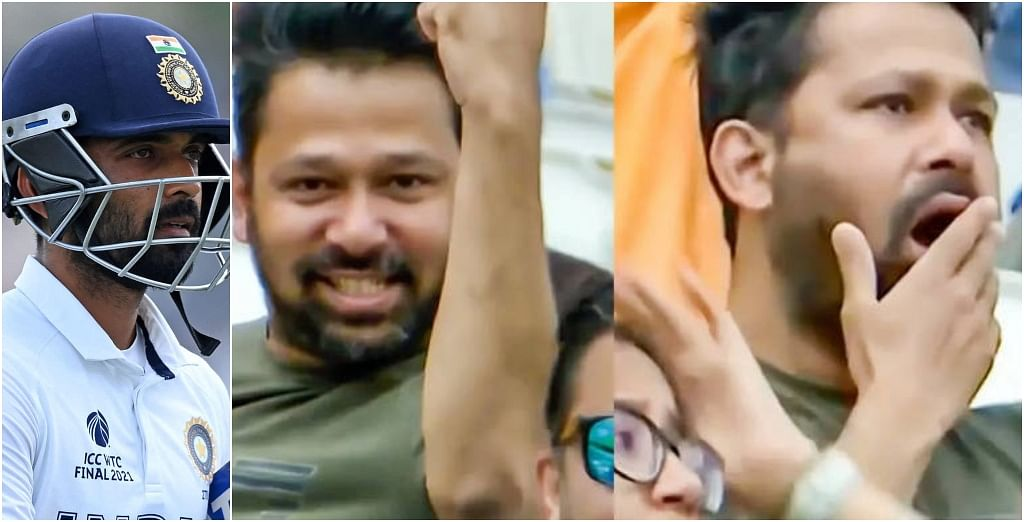 Fan's priceless reaction goes viral at Ajinkya Rahane's dismissal on Day 6 of the WTC Final between India and New Zealand goes viral.