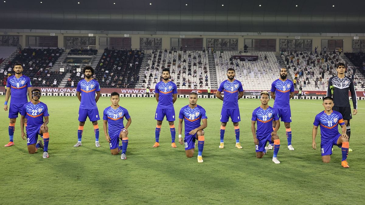 Indian men's football team pose for a picture ahead of their game against Qatar