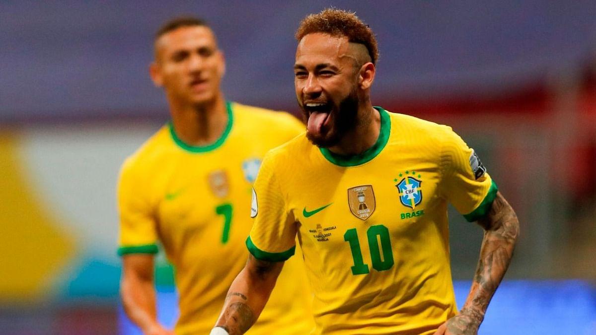 Neymar celebrates his goal against Venezuela.