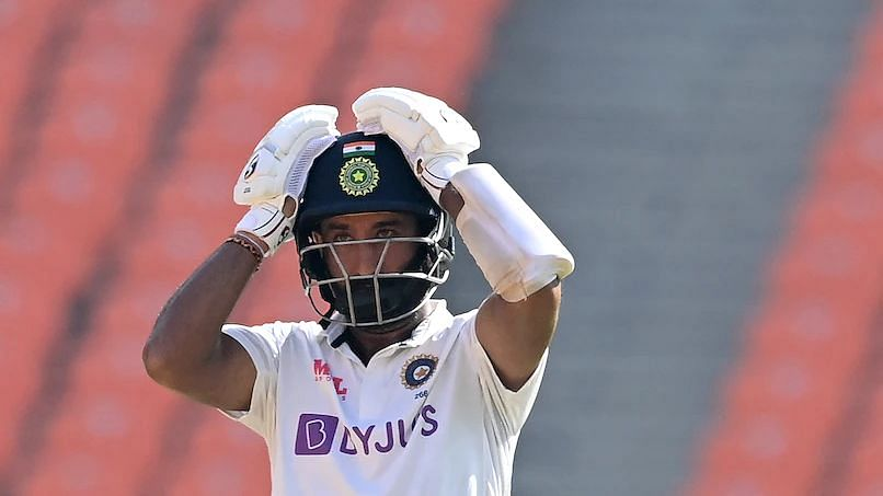 Cheteshwar Pujara reacts in the 4th Test against England.