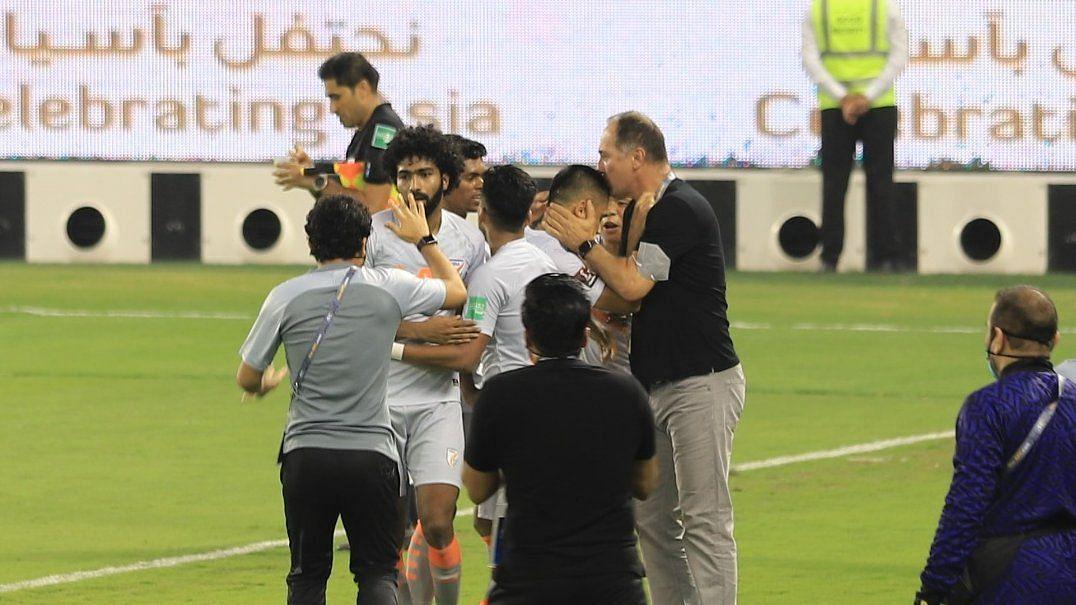 Igor Stimac kisses Sunil Chhetri on the head after the win against Bangladesh.