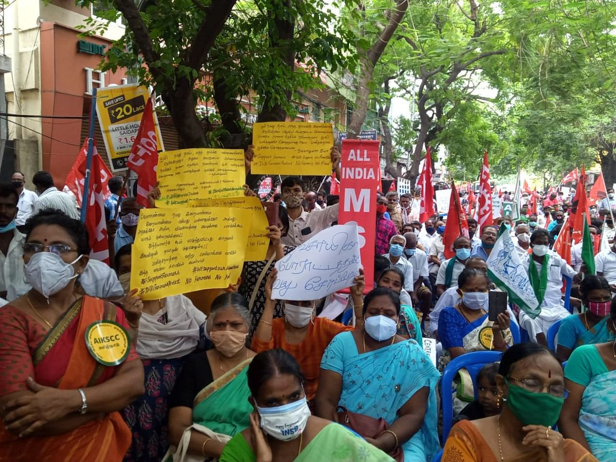 Farmers outside Raj Bhavan in Chennai.