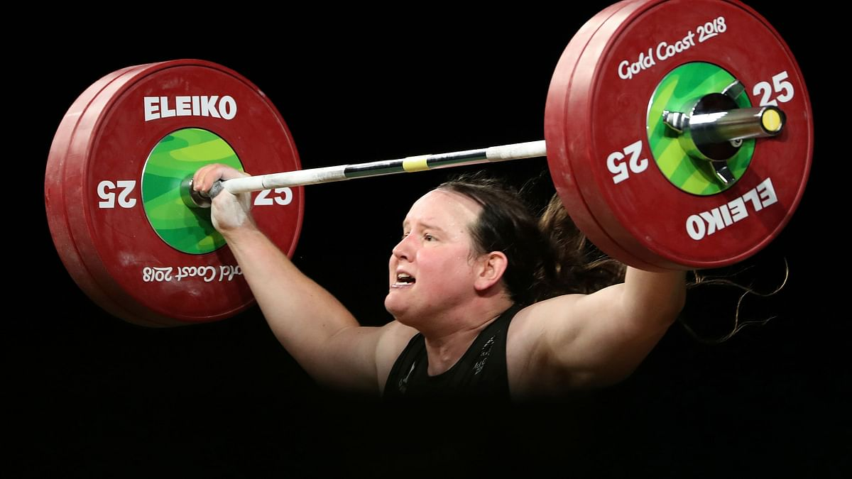 New Zealand's Laurel Hubbard lifts in the snatch of the women's +90kg weightlifting final the 2018 Commonwealth Games in Australia.