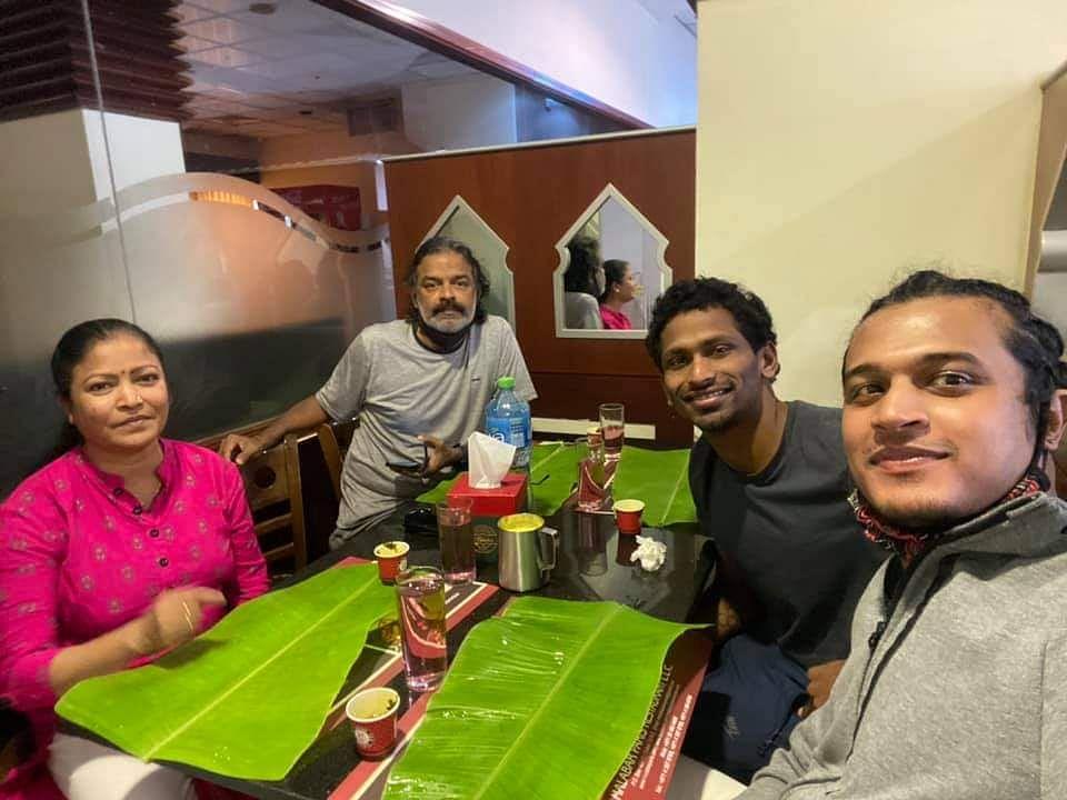 "<div class=""paragraphs""><p>Sajan along with Pradeep Kumar, his wife Gowri and compatriot Olympian swimmer Gagan AP.</p></div>"