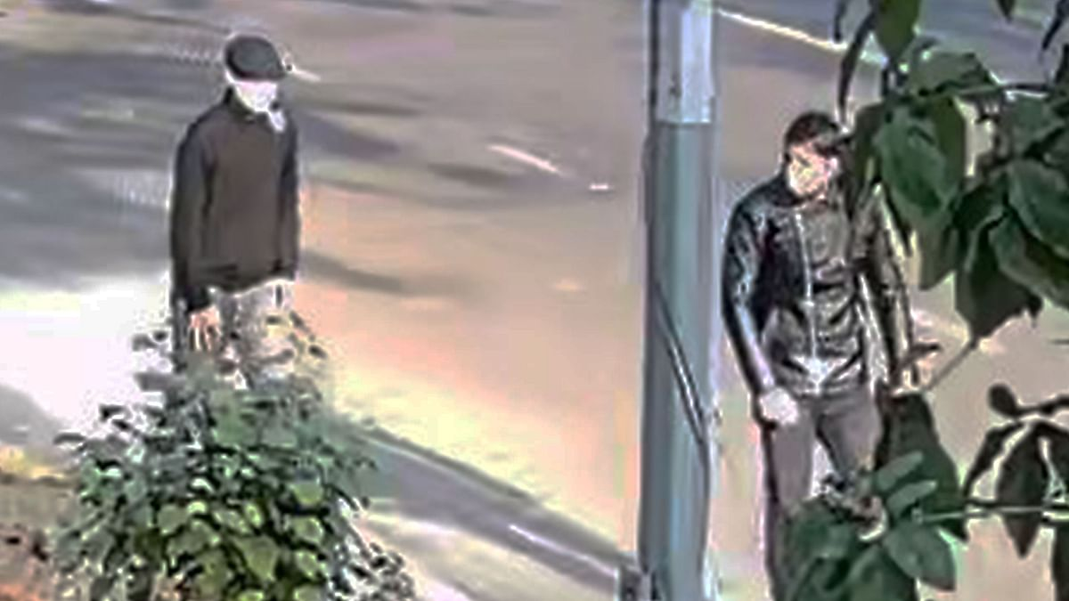 CCTV footage of two men suspected to be involved in a blast near the Israeli Embassy in Delhi.