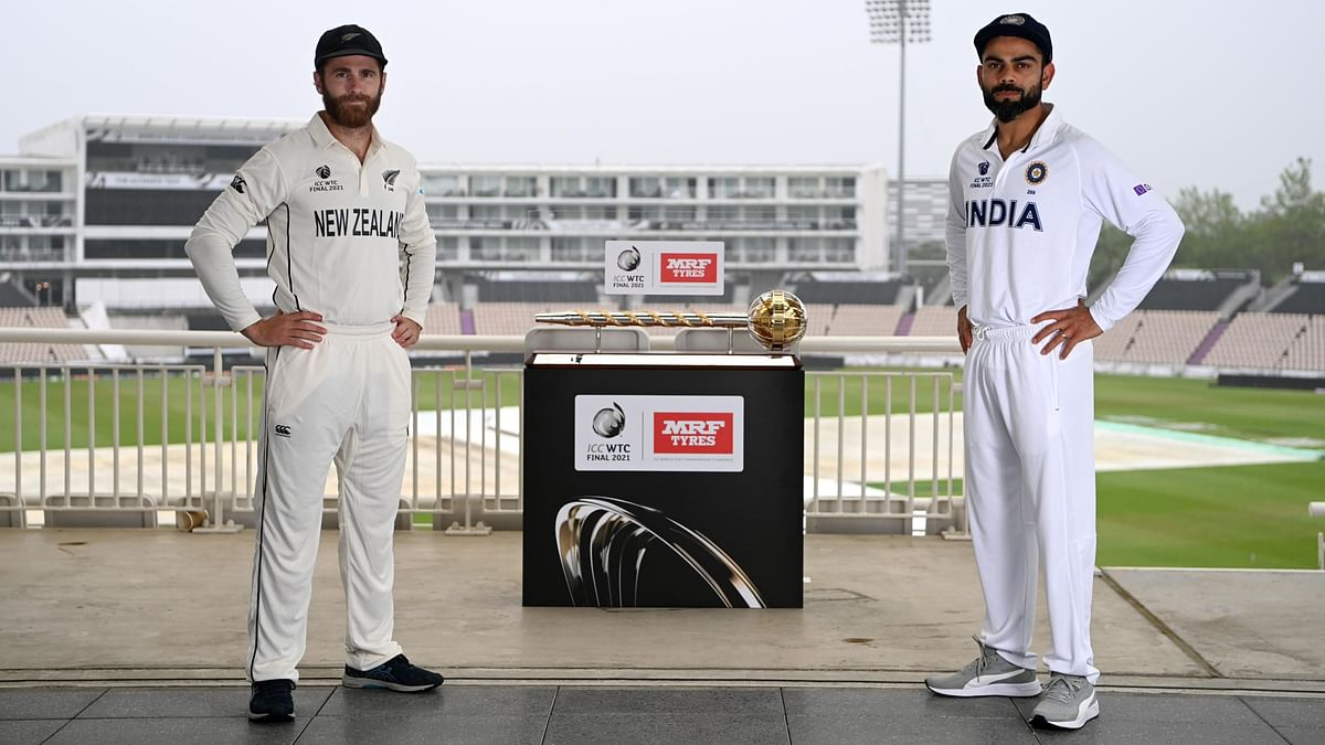 """<div class=""""paragraphs""""><p>Virat Kohli and Kane Williamson stand with ICC Test Mace before the WTC Final.&nbsp;</p></div>"""
