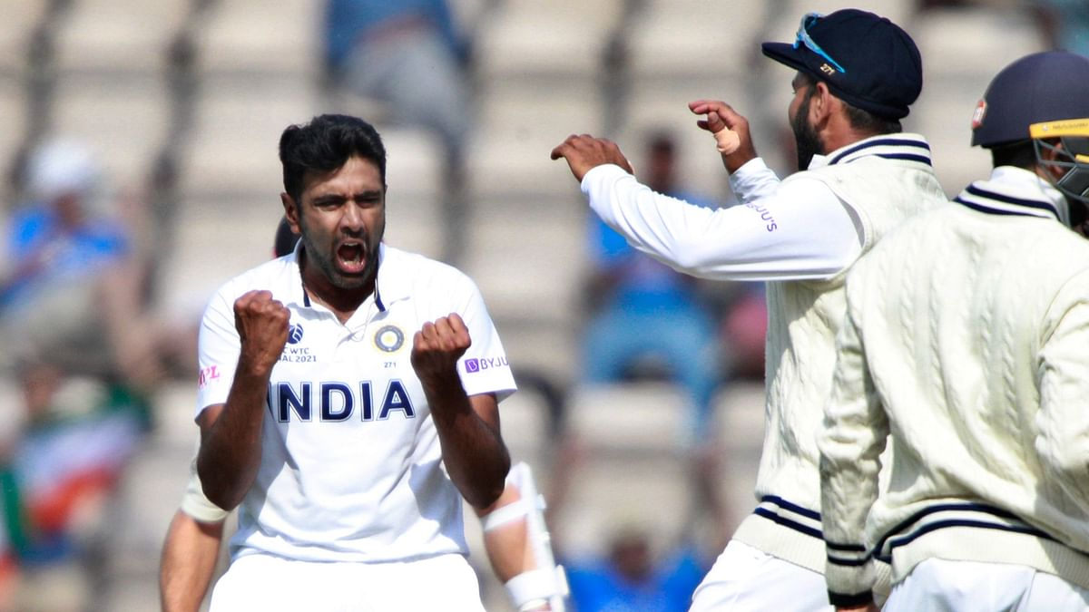 Ashwin celebrates a wicket during the final innings of the World Test Championship final between India and New Zealand.