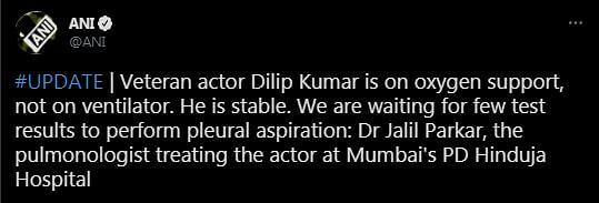 Dilip Kumar on Oxygen Support but Stable: Doctor