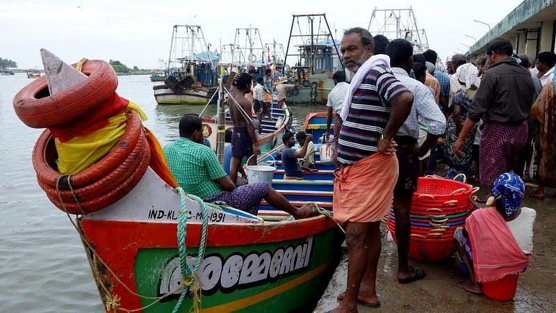 Fishing harbour at Neendakara.