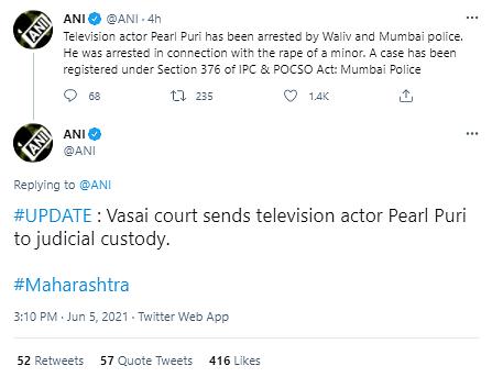 Pearl Puri Sent to Judicial Custody in Alleged Rape Case: Report