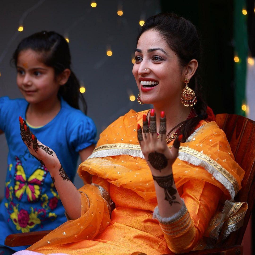 "<div class=""paragraphs""><p>Yami Gautam during her mehendi ceremony.&nbsp;</p></div>"