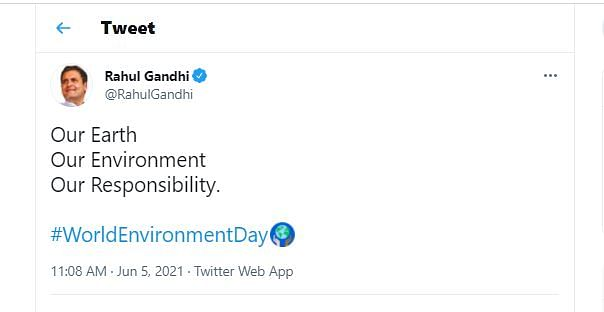 "<div class=""paragraphs""><p>Rahul Gandhi on World Environment Day</p></div>"