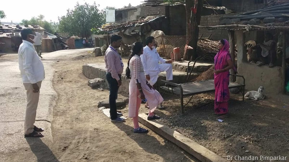 Chikhaldara tehsildar Maya Mane visits homes in a village in Melghat to convince residents to take the vaccine.
