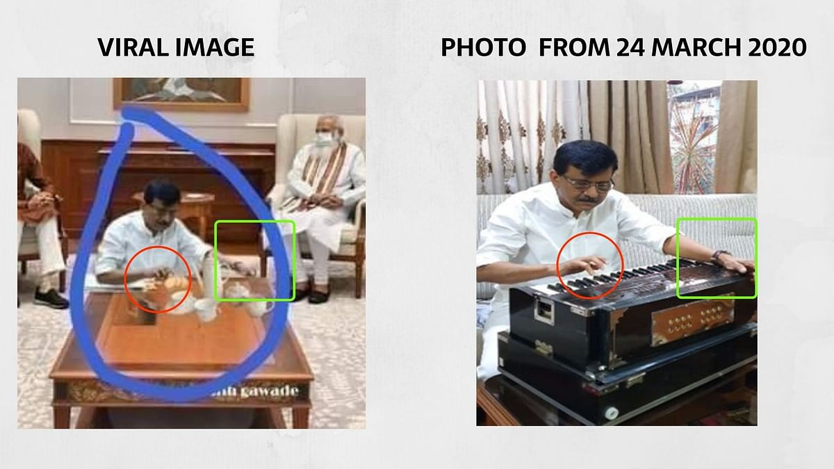 Edited Image Shared to Claim MP Sanjay Raut 'Made Tea For PM Modi'