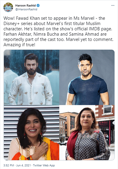Fawad Khan to Star in Disney+ Series Ms Marvel?