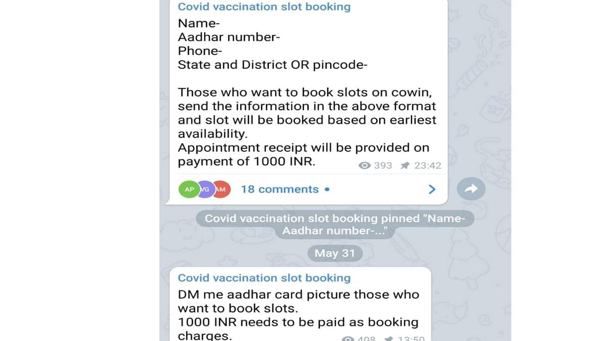 "<div class=""paragraphs""><p>Screenshot of a Telegram group asking money for booking vaccines.</p></div>"