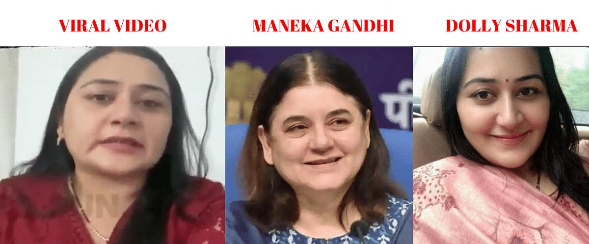 Left: Viral video. Middle: Maneka Gandhi. Right: Dolly Sharma.