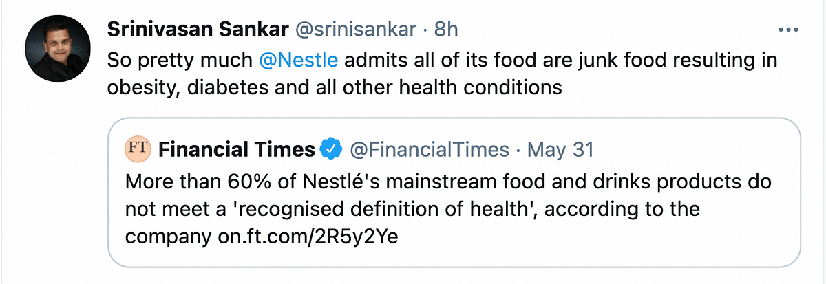 More Than 60% Of Nestlé's Products Aren't Healthy, Twitter Reacts