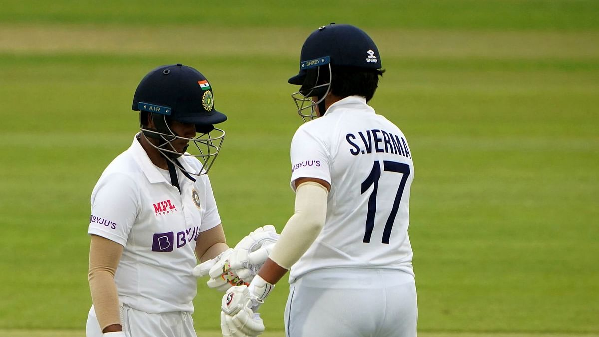 India's Shafali Verma, right, and Deepti Sharma during day three of the Women's Test match between England and India at the Bristol County Ground in Bristol.