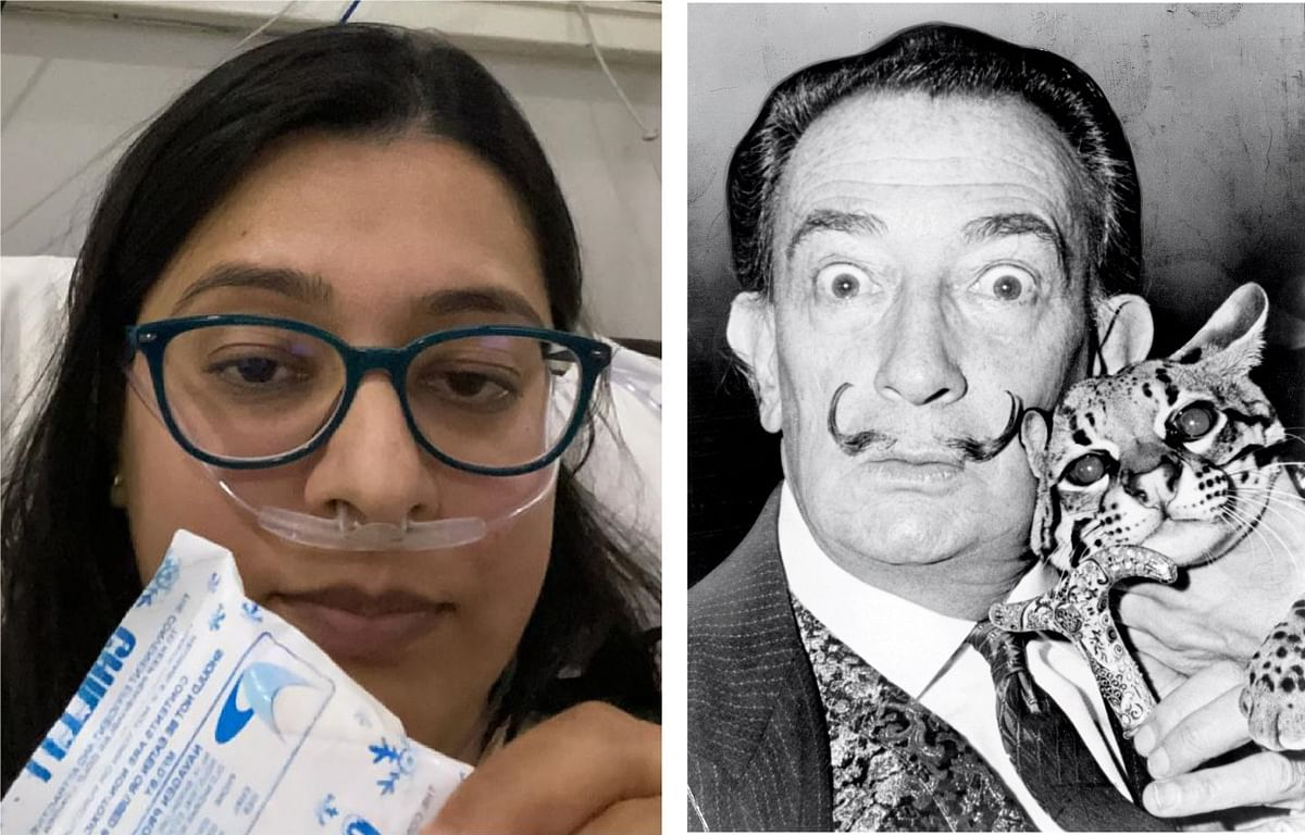 A collage created by my friend, SidSen. I'm (L) holding up an ice pack (for IV cannula pain). Oxygen through a nasal tube. That's a photo of Salvador Dali with his cat on the right.