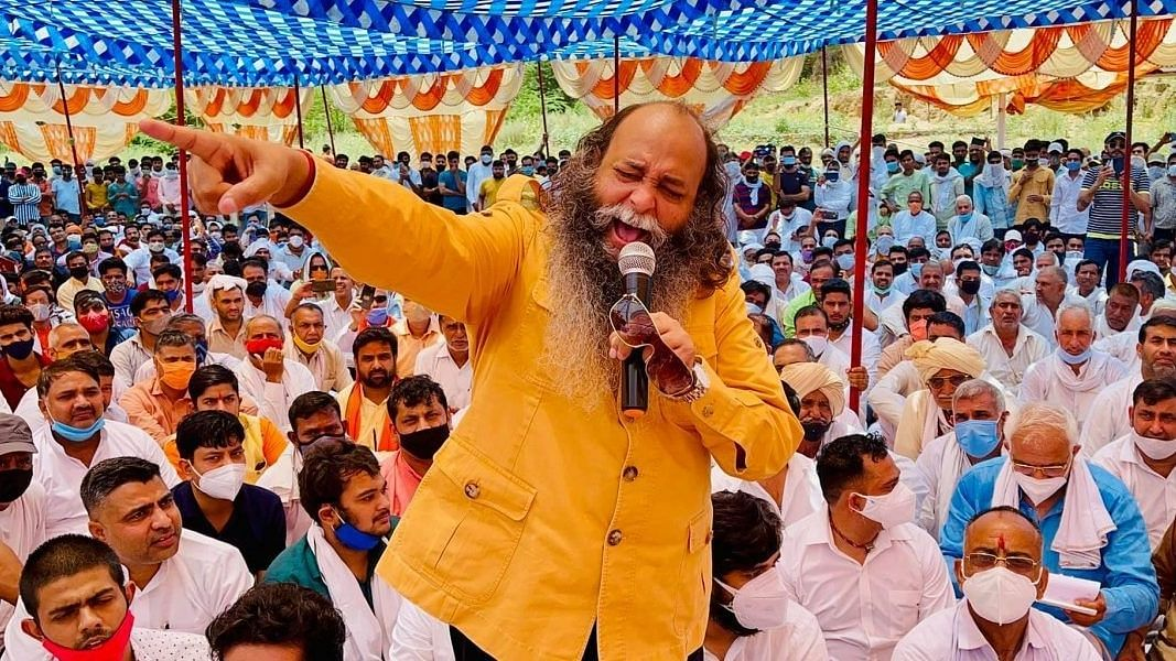 "<div class=""paragraphs""><p>BJP leader Amu at the mahapanchayat in Haryana's Indri district in May.</p></div>"