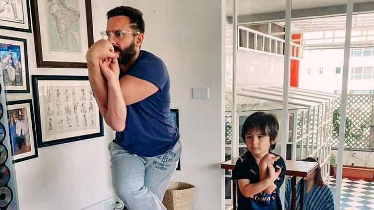 On Yoga Day, Kareena Shares Pics of Saif & Taimur Stretching