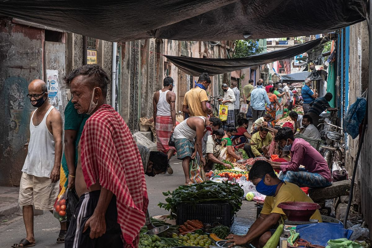 Scene from a weekly market in Girish Park, Kolkata.