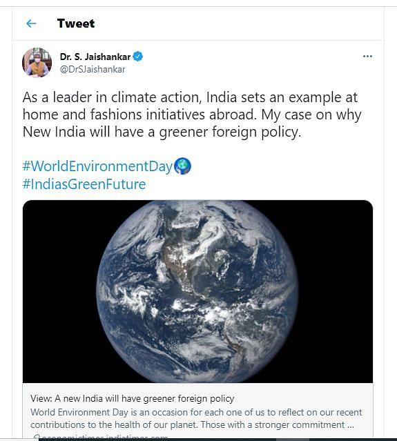 "<div class=""paragraphs""><p>Dr S Jaishankar&nbsp;on World Environment Day</p></div>"