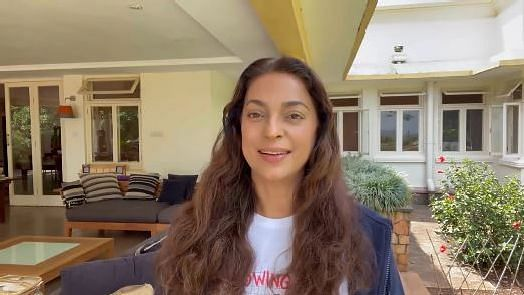 """<div class=""""paragraphs""""><p>Actor Juhi Chawla posted a video talking about her 5G suit</p></div>"""