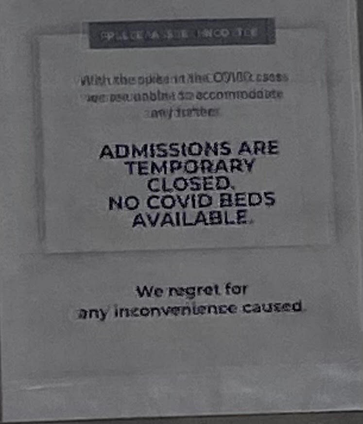 The sign outside the hospital - the reality in this city.