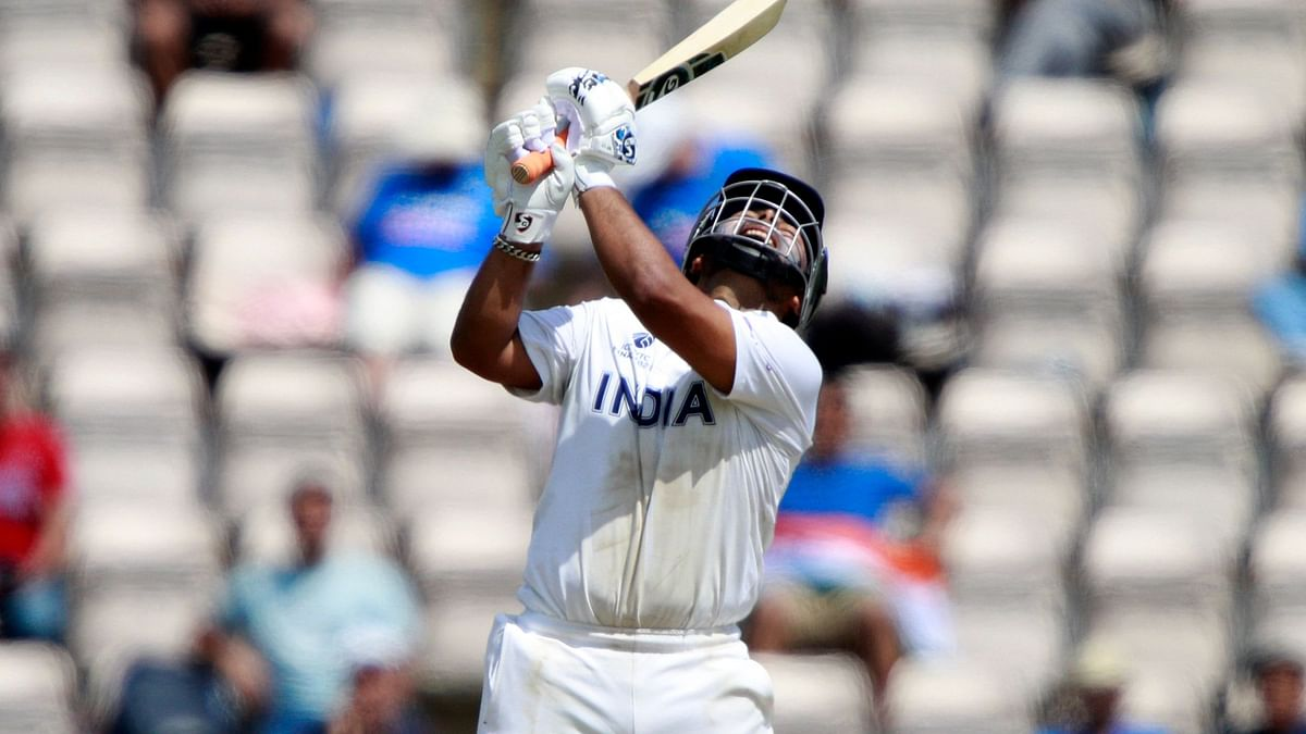 India's Rishabh Pant reacts after losing his wicket during the sixth day of the World Test Championship final cricket match between New Zealand and India, at the Rose Bowl in Southampton.