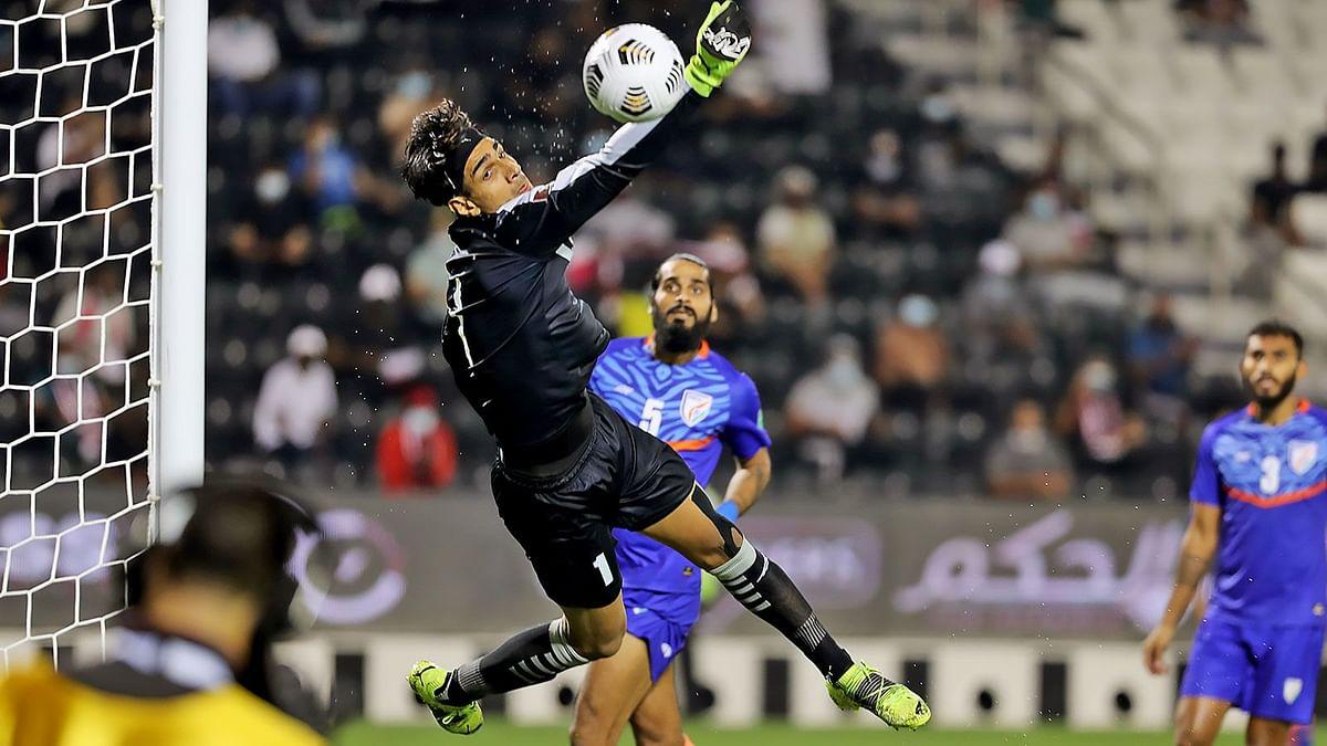 Gurpreet Singh Sandhu in action against Qatar in Doha