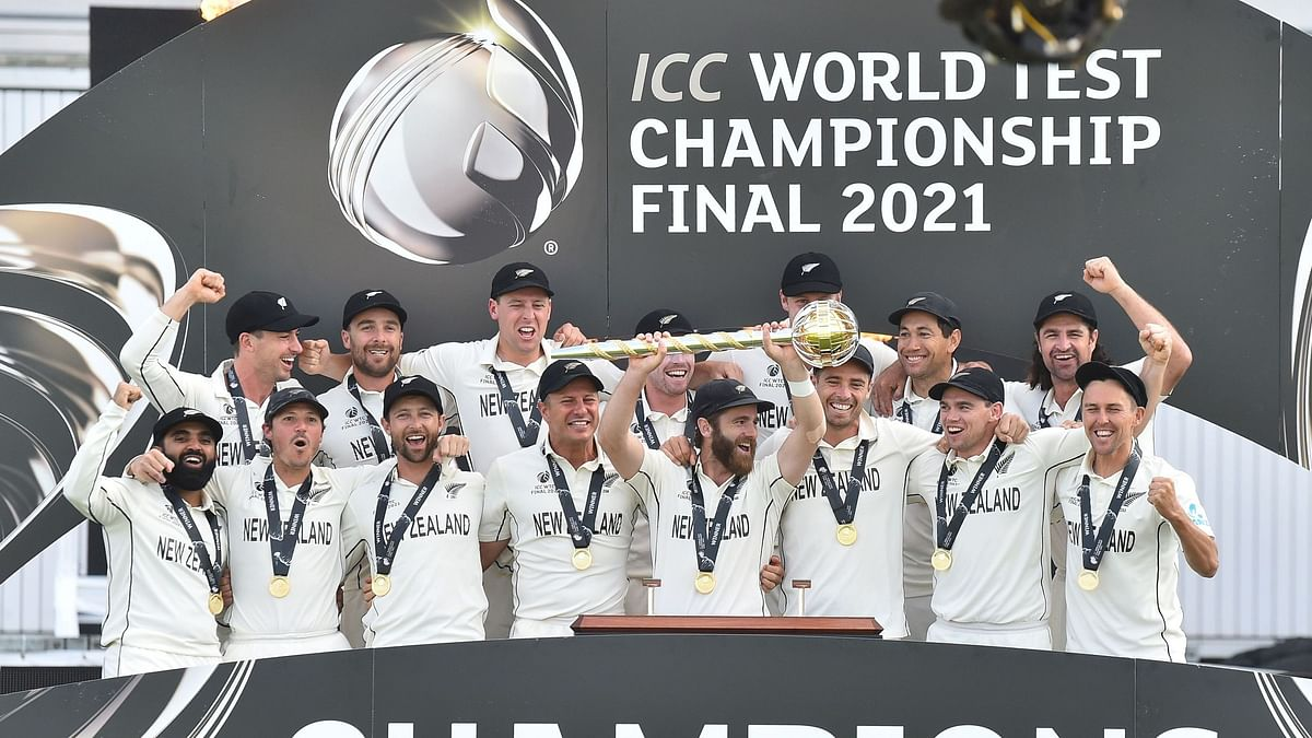 New Zealand players celebrate after being handed the ICC Test Championship Mace in Southampton on Wednesday.