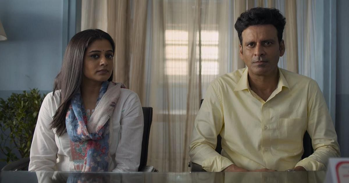 """<div class=""""paragraphs""""><p>Priyamani and Manoj Bajpayee in a still from The Family Man 2.&nbsp;</p></div>"""