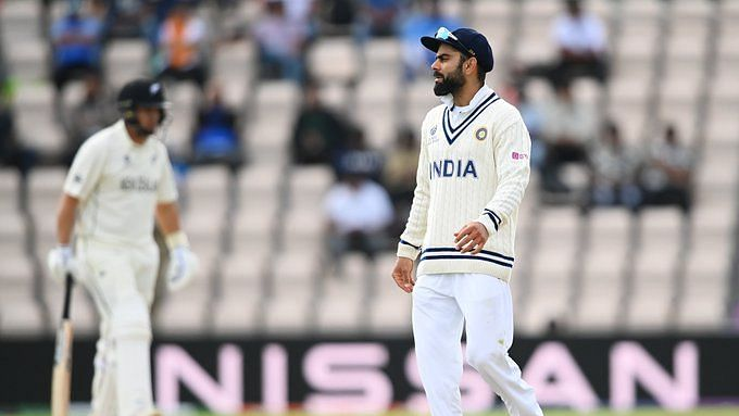 Virat Kohli reacts while fielding in the fourth innings in the WTC Final against NZ in Southampton.